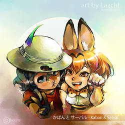 Kaban and Serval by Lazcht