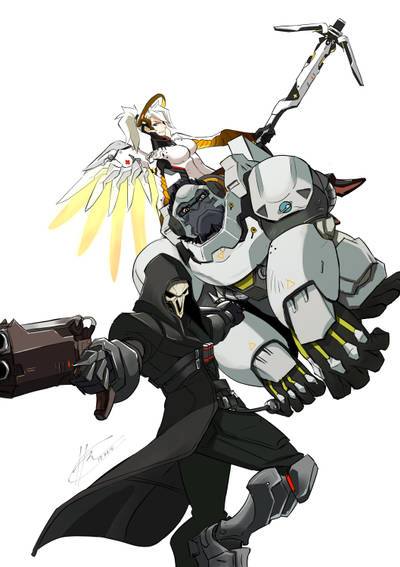 Overwatch - Reaper - Winston - Mercy by HanningCathan