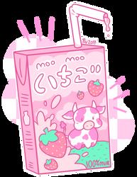 Kawaii Strawberry Milk by AngelicArtistGirl