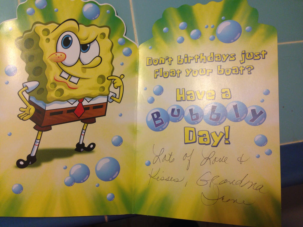 Spongebob Birthday Card Inside By Cilandpfangirl On