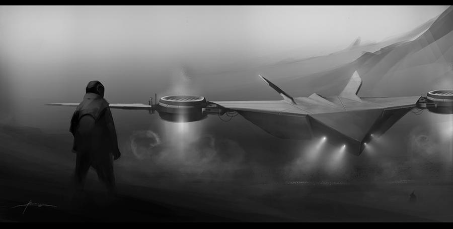 Sci-fi landing by JBarrero