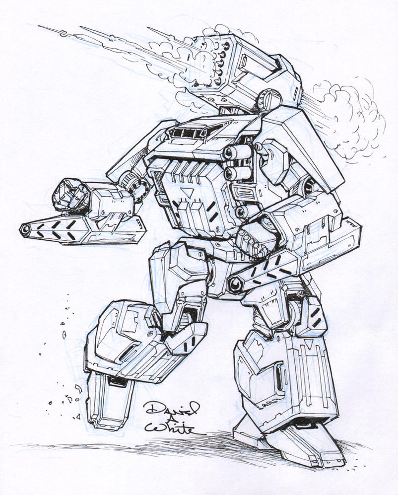 Thunderbolt-IIC mech sketch by Mecha-Zone