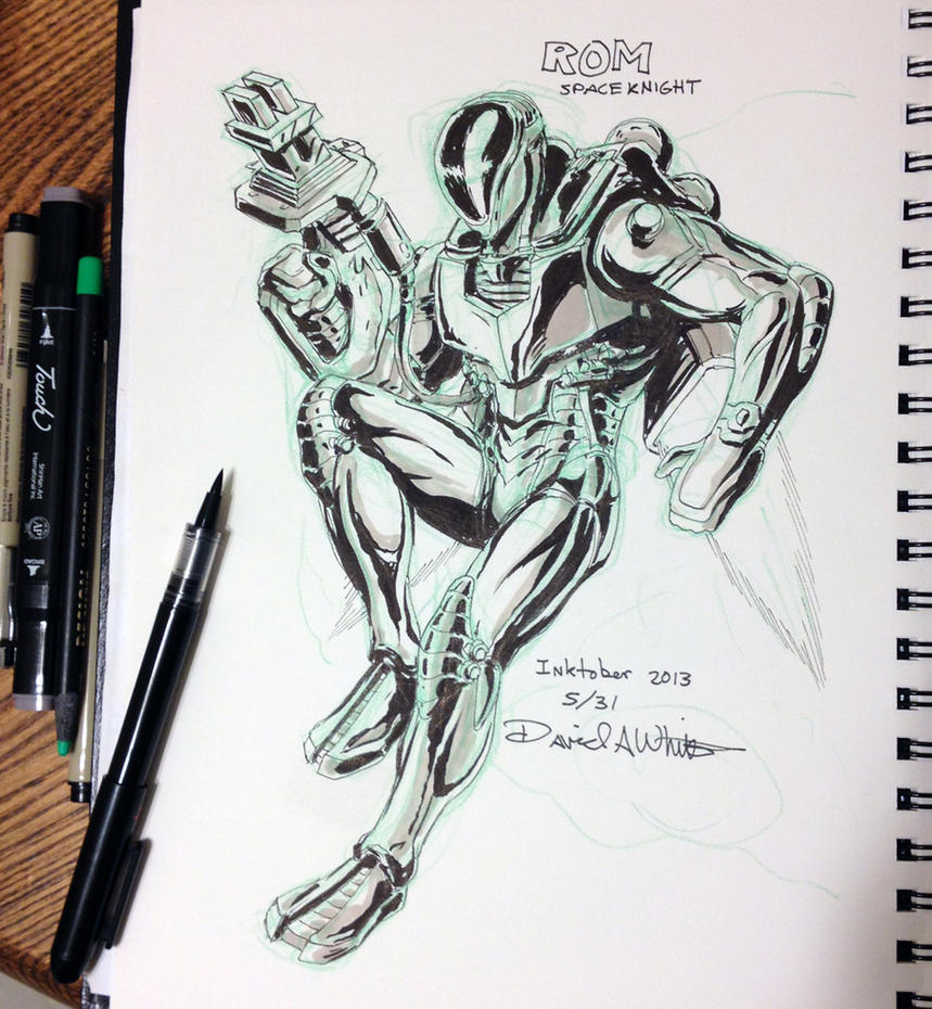 Inktober #5 ROM Spaceknight by Mecha-Zone