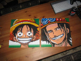 Luffy and Ace Bead Sprites by Zakkyy
