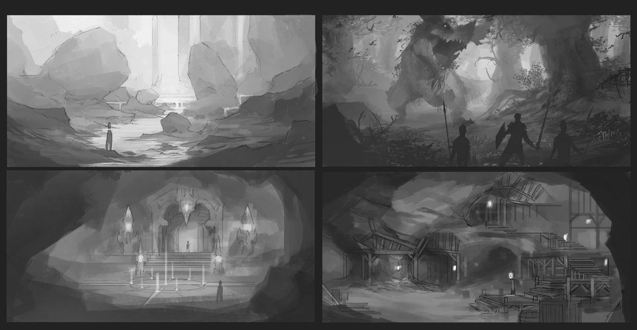 Environment sketches by CxArtist
