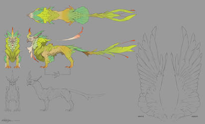 Creature Design - Jungle Griffin design sheet