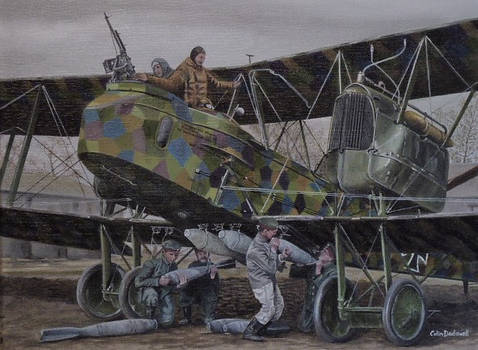 A Gotha V being prepared for action during WW1