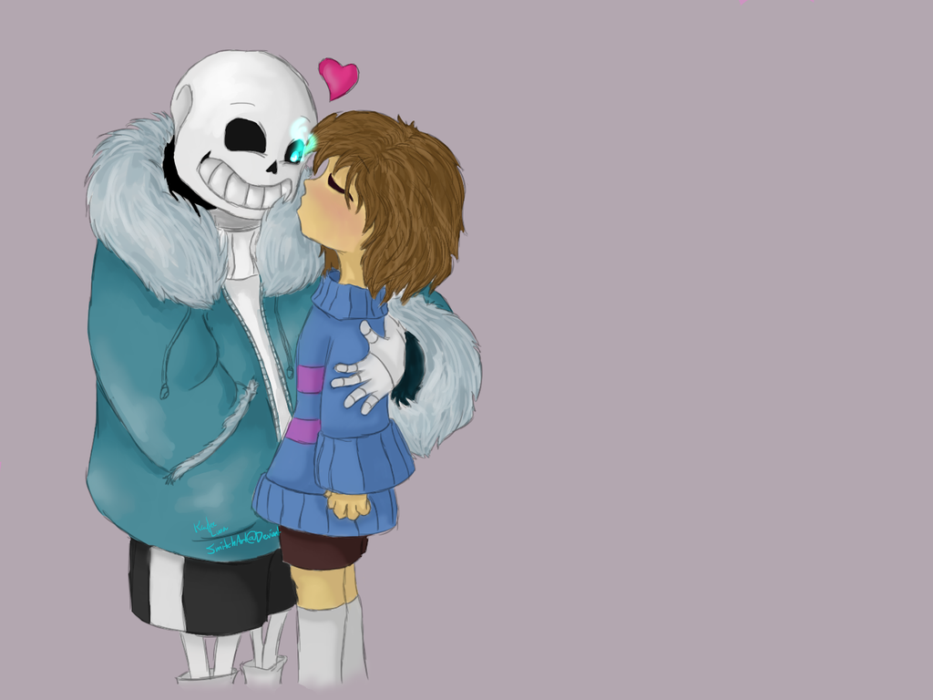 Sans and Frisk: Kiss? by SmitchArt