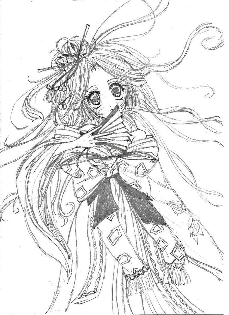 Anime Kimono Coloring Pages Coloring