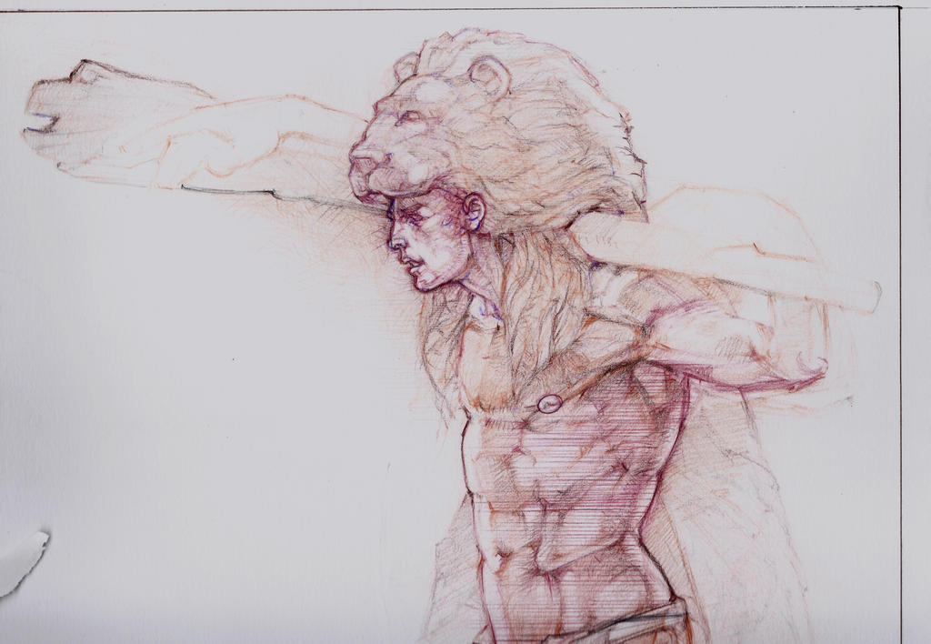 Hercules: Preparatory sketch in chalh by JSAK1960
