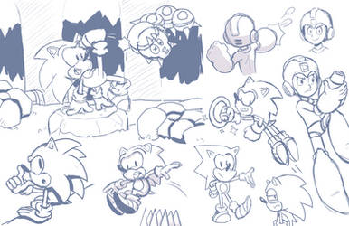 Sonic and Mega Man sketches by GeorgeRottkamp