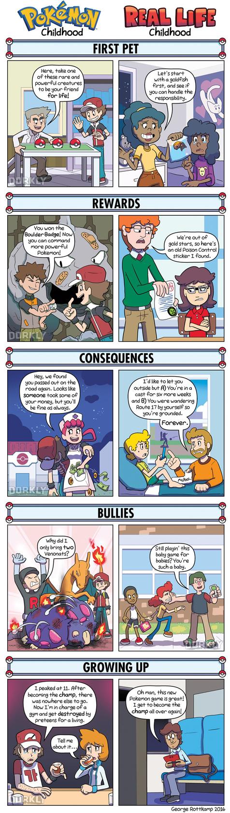 DORKLY: Pokemon Childhood Vs. Real-Life Childhood by GeorgeRottkamp