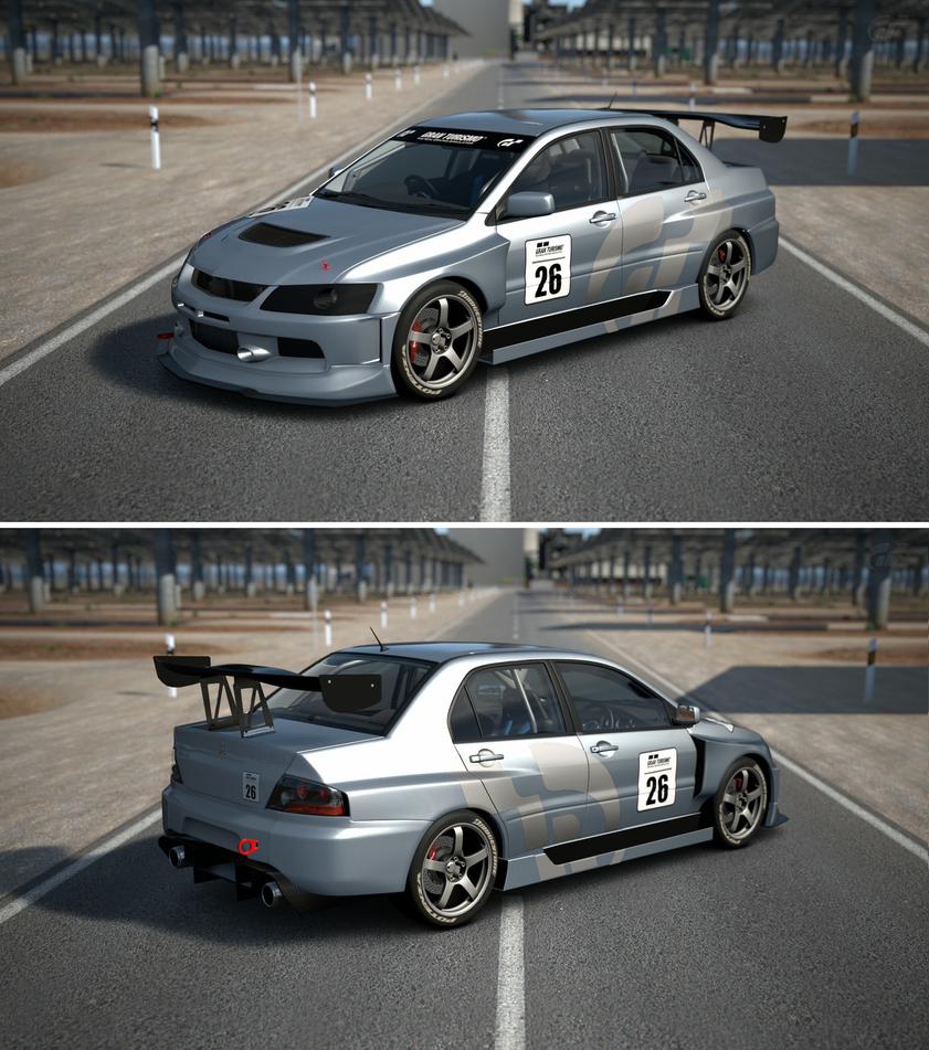 Mitsubishi lancer evolution ix gsr touring car 39 05 by gt6 for Garage auto evo milizac