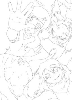 Line Art (Kami, Kuro, Nanako w Wan)