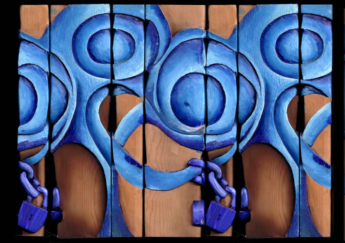 Four Sides of Blue Sculpture by Creaseleave