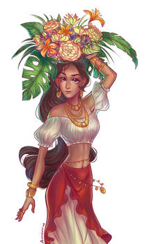 Basket of flowers YCH:Elena of Avalor