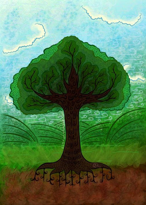 Stylized Tree in Color by Zirra--Nova