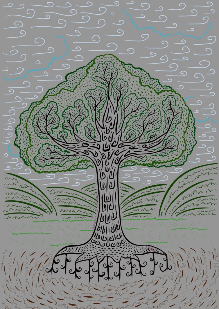 Stylized Tree in Less Color by Zirra--Nova