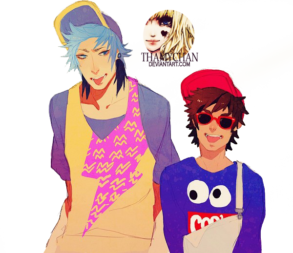 80 Renders Mangas Amour/Amitié _render__mordecai_and_rigby_by_thamychan-d7szu0j