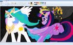 Princess Celestia and Twilight Sparkle in Paint