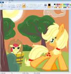Applejack AND AppleBloom  in Paint