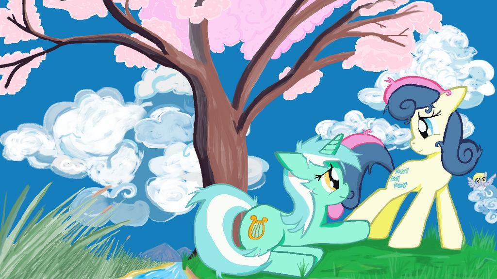 Lyra and Bon Bon in MS-Paint