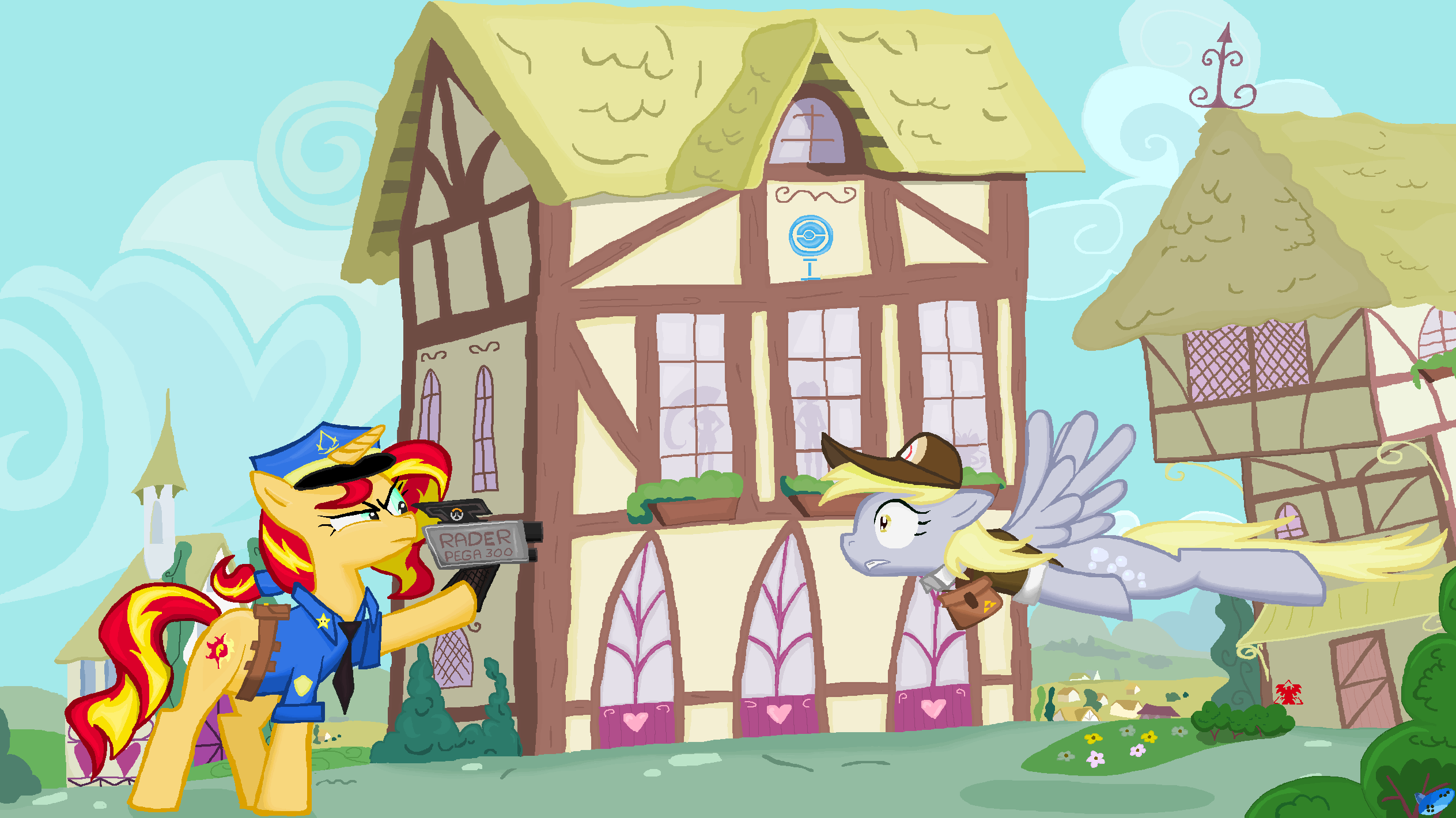 Sunset Shimmer and  Derpy Hooves  in Ms-Paint