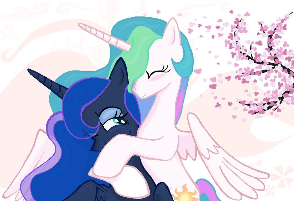 Princess Celestia  Princess Luna HUG in Ms-Paint