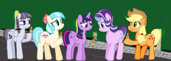 Inky Coco Twilight Starlight Applejack open bottle by sallycars