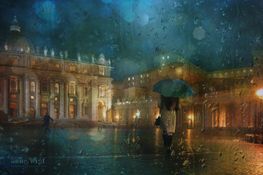 Rainy Night in Rome by annewipf