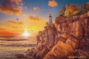 Sunset Lighthouse by annewipf