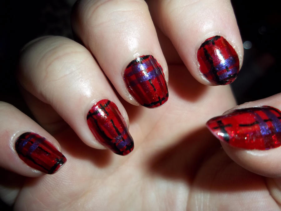 Red and Purple Plaid Nail Art by Onezumi-Daisuke on DeviantArt