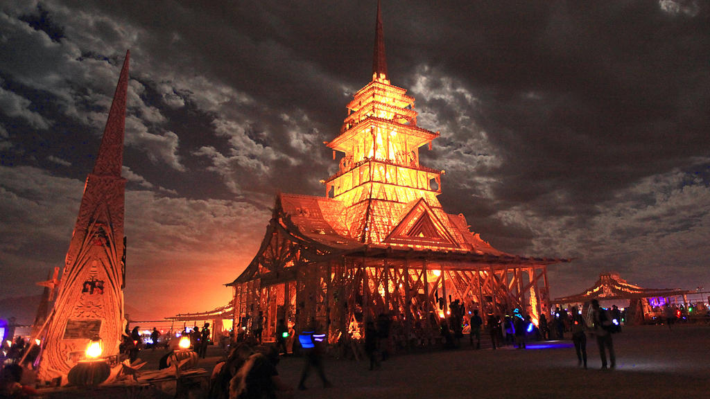 The Temple Of Juno at Burning Man at Full Moon by bluedogsd