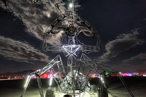 Scary Monster at Burning Man 2012 - night Playa by bluedogsd