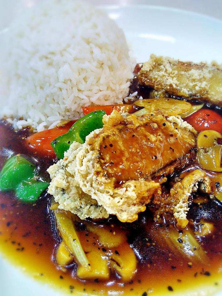 Blackpepper Sauce Tofu Rice by VEGAN-LOVE