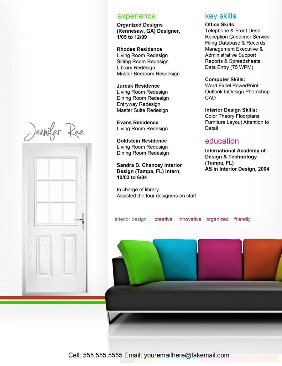 Resume Interior Design by rkaponm on DeviantArt – Interior Designer Resume Sample