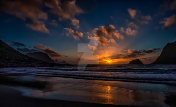 A midnight sun scene from lofoten islands