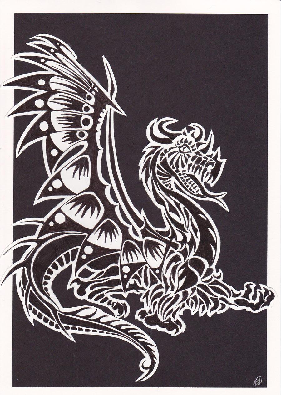 Custom Card Template print design : Dragon Lino Print Design by KawaiiMoogle on DeviantArt