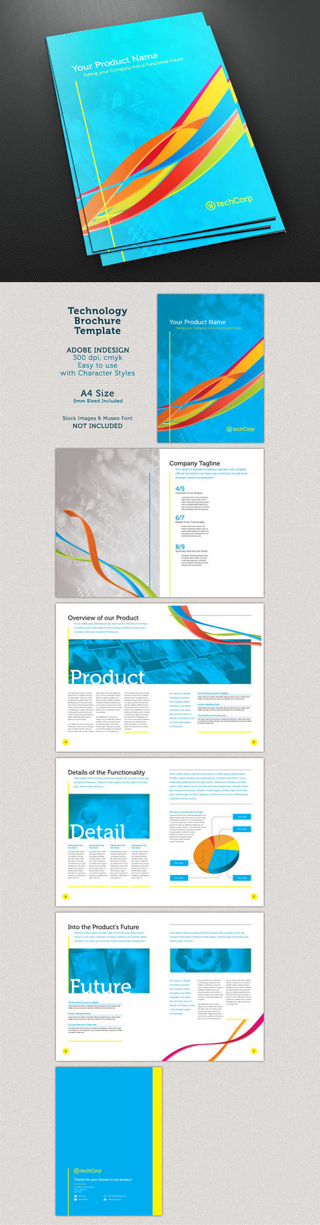 Whirls technology a4 10 page brochure template by for Four page brochure template