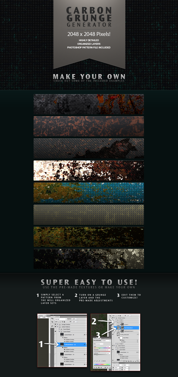 Carbon Grunge Background Texture Generator by ramijames on