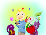 Louie with some Pikmin