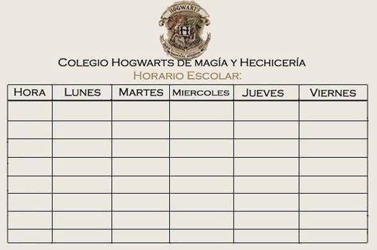 Horario Escolar Hogwarts.