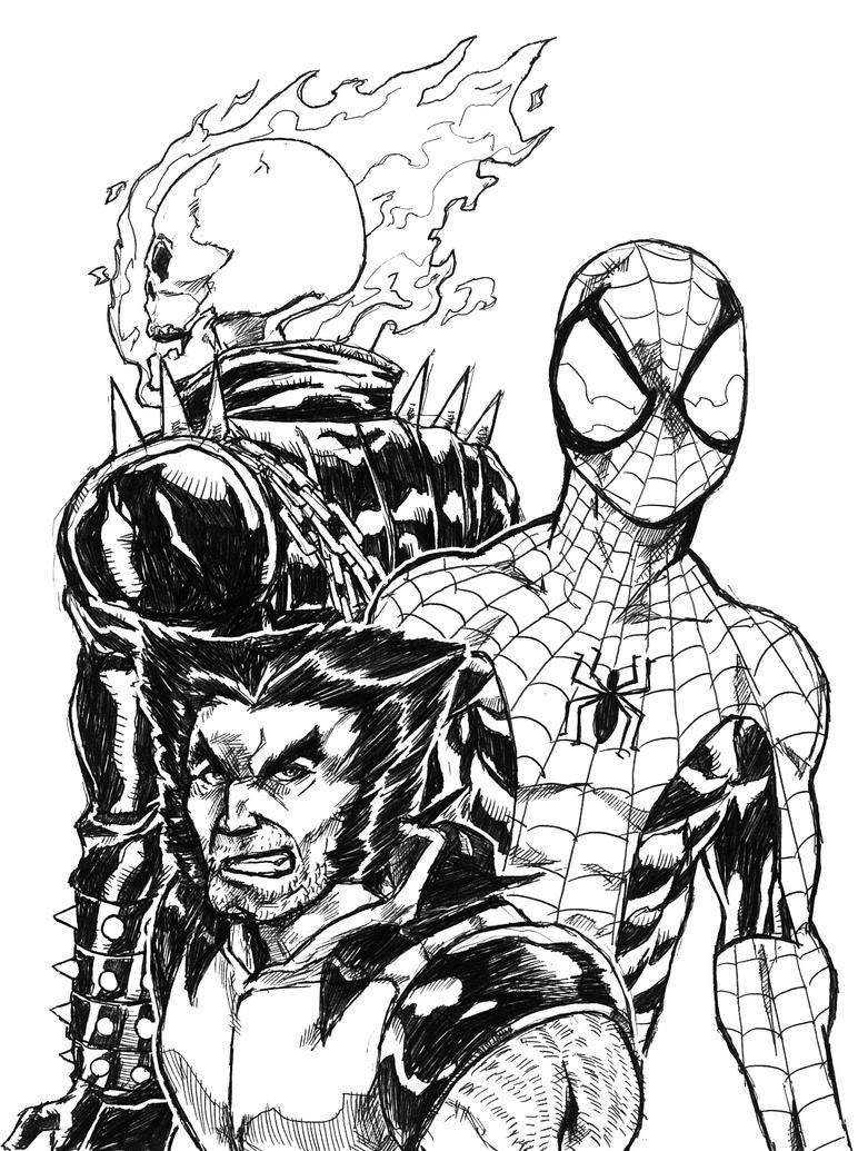 Spider Man Wolverine And Ghost Rider By J Garou On Deviantart