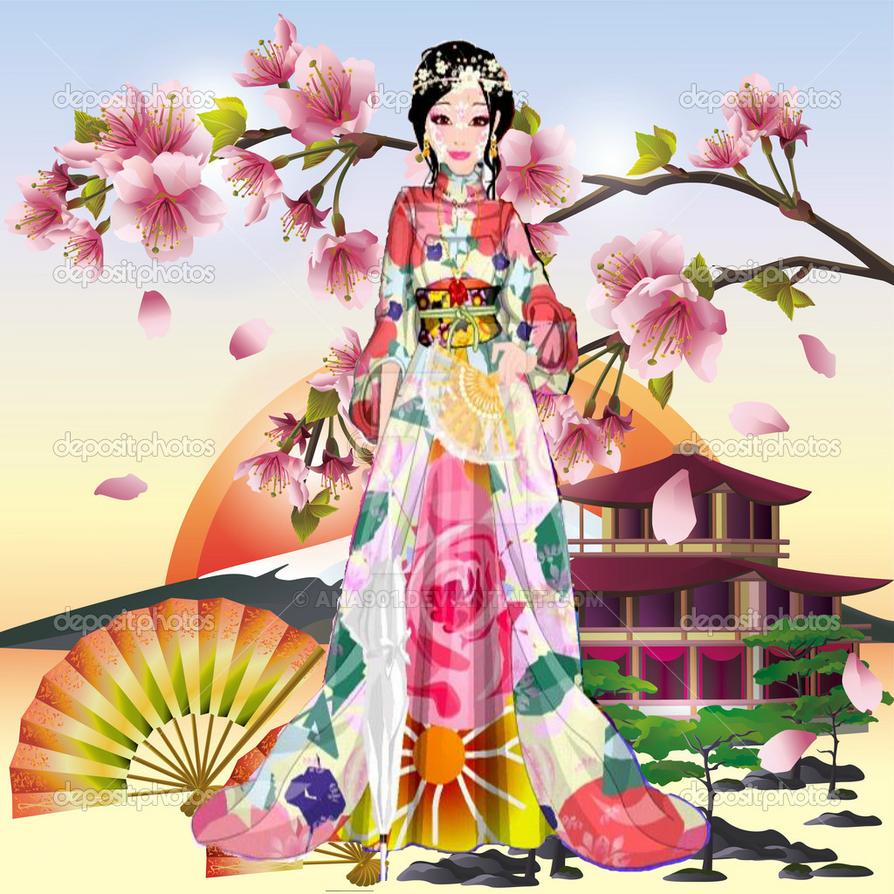 kimono of Misaki Mey with Japanese background by Ana901