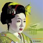 Geisha In Green (Vector Drawing)