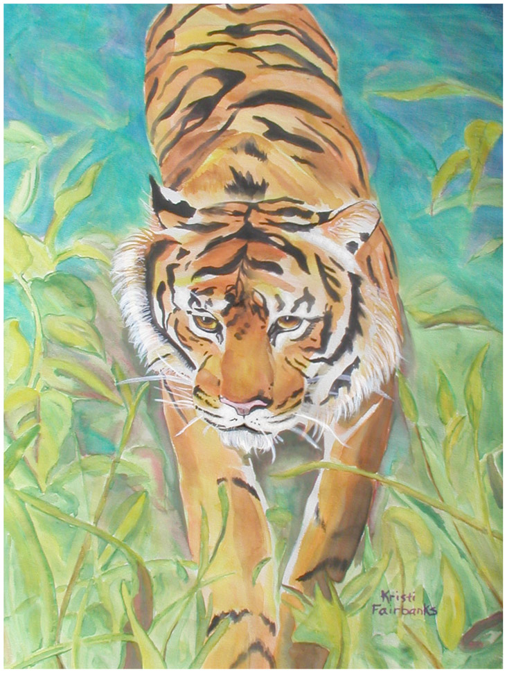Jungle Tiger (watercolor painting) by eyeqandy