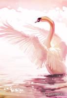 Sunset Swan (digital drawing) by eyeqandy