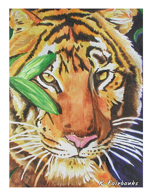 Tiger Portrait (watercolor painting) by eyeqandy