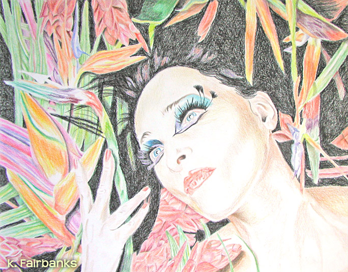Siouxsie Floral (pencil drawing) by eyeqandy