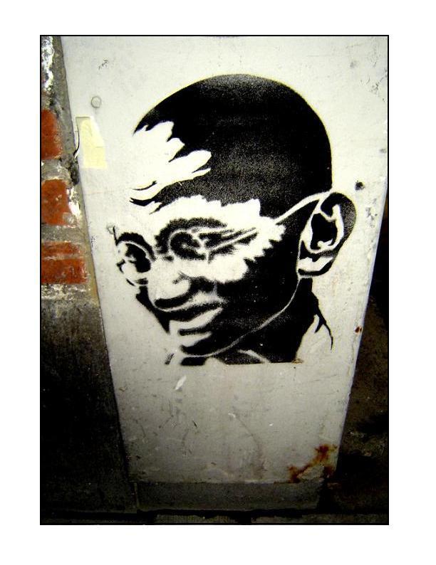 streetart, gandhi by trashdoll